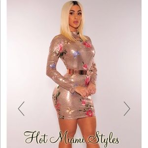 Hot Miami Styles Rose Gold Sequin Dress